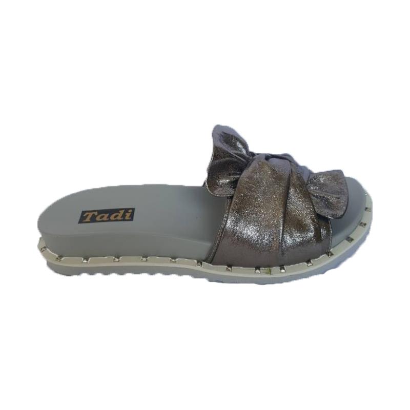 Женские кожаные шлёпки «Бант» 155, цвет — серебро