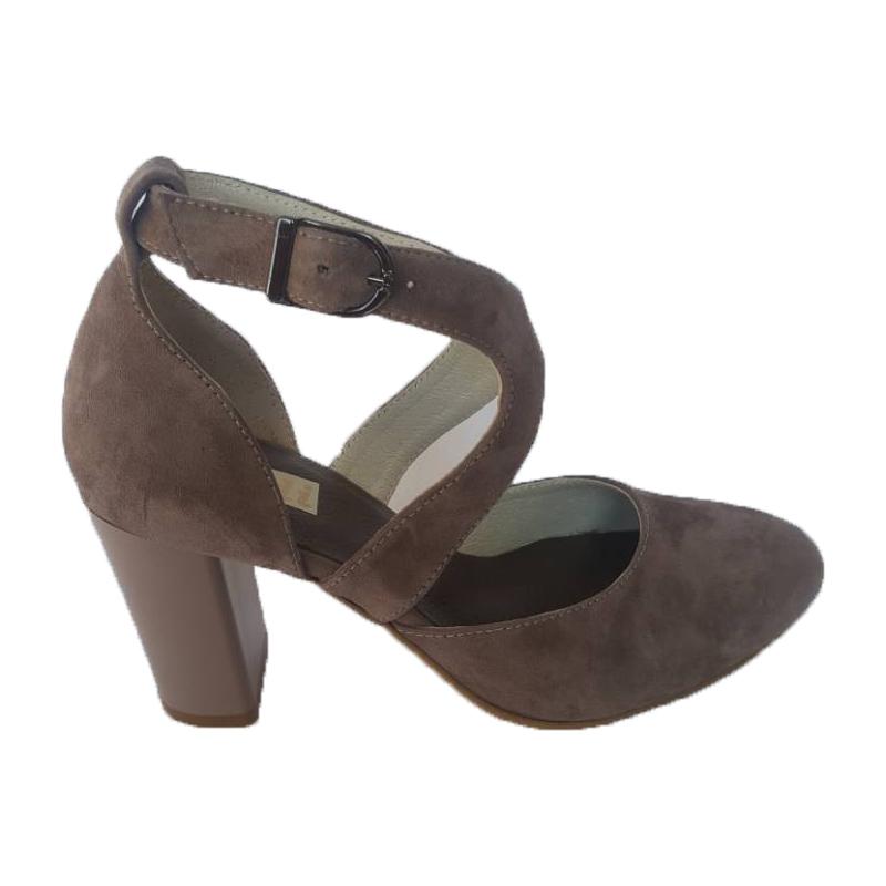 Женские замшевые босоножки «Деленка», код 8055, цвет бежевый