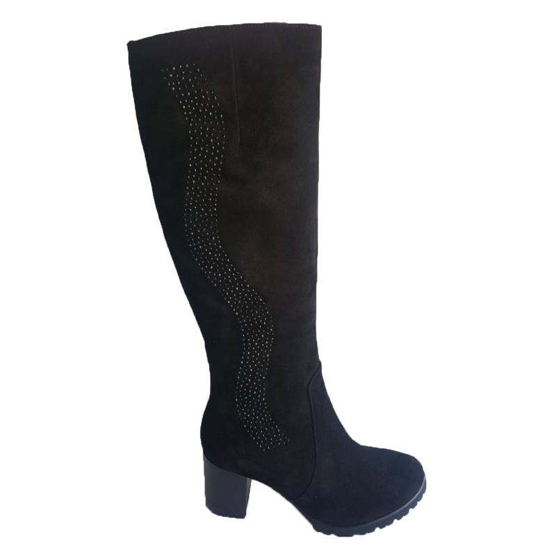 Женские замшевые сапоги «Волна», цвет — черный