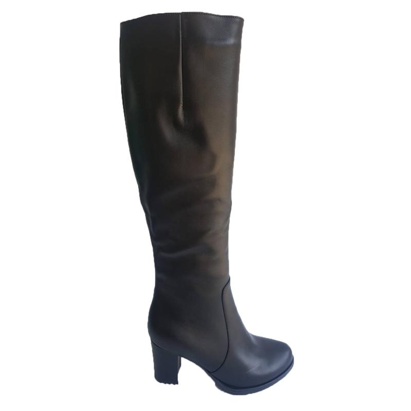 Женские кожаные сапоги «Волна», цвет — черный