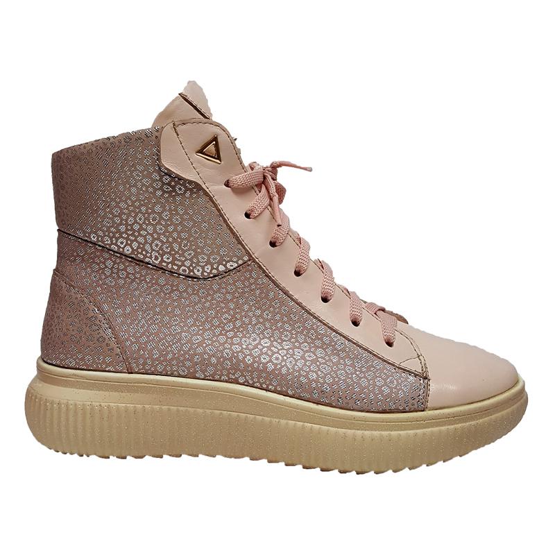 Женские кожаные ботинки «Жаннэт», цвет розовый