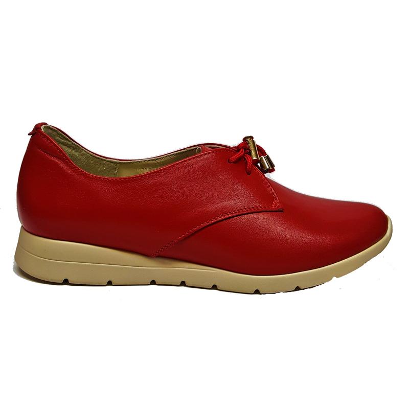 Женские кожаные туфли модель «171», цвет красный