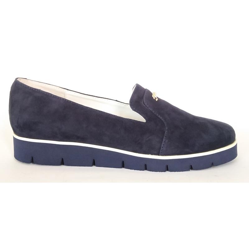 8cff3e33a ... Женские замшевые туфли »Николь», синие (на танкетке), код — 4167